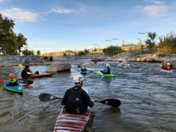 Some in the paddling community continue to have concernsabout Harvie Passage. They are attemptingto make further safety recommendations to the city and province but feel discussions have stalled. (Submitted by the Alberta Whitewater Association - image credit)