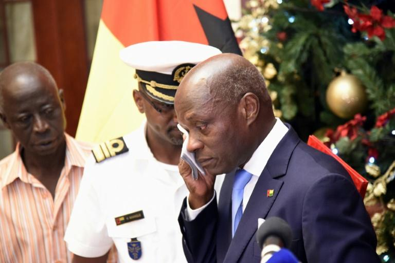Tearful farewell: Head of state Jose Mario Vaz delivers his final speech at the Presidential Palace in Bissau