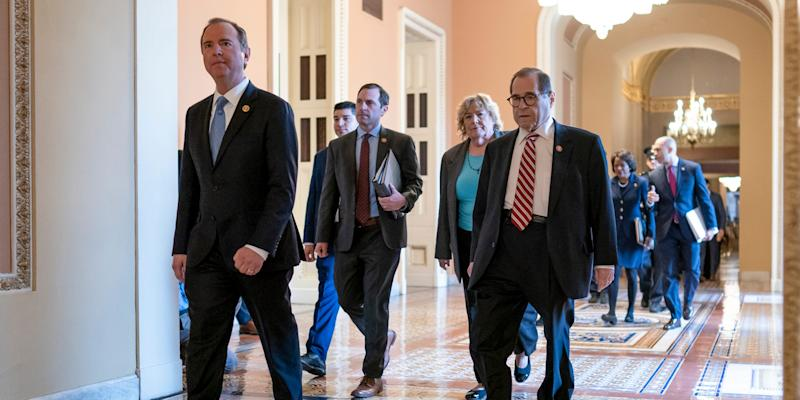 House Democratic impeachment managers, from left, House Intelligence Committee Chairman Adam Schiff, D-Calif., Rep. Jason Crow, D-Colo., Rep. Zoe Lofgren, D-Calif., and House Judiciary Committee Chairman Jerrold Nadler, D-N.Y., arrive for the start of the third day of the impeachment trial of President Donald Trump on charges of abuse of power and obstruction of Congress, at the Capitol in Washington, Thursday, Jan. 23, 2020. (AP Photo/J. Scott Applewhite)