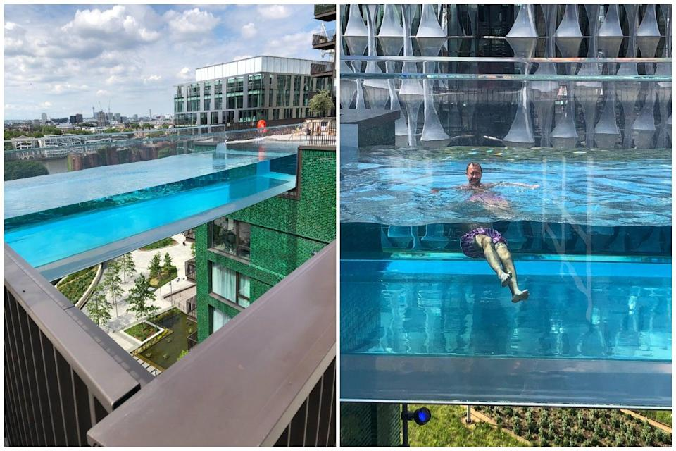 Shimmering: Jonathan Prynn in the Sky Pool that links two buildings on the South Bank  (Handout)