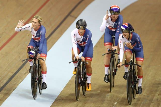 Laura Kenny, left, and Great Britain's team pursuit team