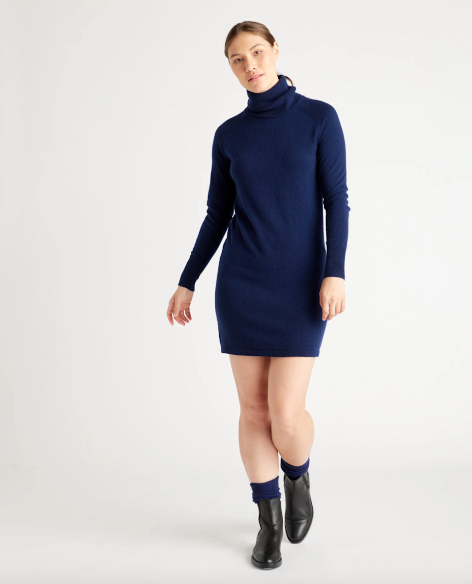 """<h2>Quince Mongolian Cashmere Turtleneck Sweater Dress</h2><br><em><strong>The Cashmere Choice</strong></em><br><br>There's one word that immediately comes to mind when we hear the phrase """"sweater weather"""": cashmere. This turtleneck dress by the brand Quince — known for high-quality basics at radically low prices — is both flattering and comfortable, and it's made from the softest Grade A cashmere to make your autumn attire dreams come true. <br><br><strong>The Hype: </strong>4.8 out of 5 stars; 140 reviews on OneQuince.com<br><br><strong>What They're Saying</strong>: """"So soft, warm. Great fit. Perfect density. Dress up or down. I'll buy in another color soon. Oh… and an awesome price."""" — Gretchen K., Quince reviewer<br><br><em>Shop</em> <em><strong><a href=""""https://www.onequince.com/women/cashmere/cashmere-turtleneck-sweater-dress?color=navy"""" rel=""""sponsored"""" target=""""_blank"""" data-ylk=""""slk:Quince"""" class=""""link rapid-noclick-resp"""">Quince</a></strong></em><br><br><strong>Quince</strong> Mongolian Cashmere Turtleneck Sweater Dress, $, available at <a href=""""https://go.skimresources.com/?id=30283X879131&url=https%3A%2F%2Fwww.onequince.com%2Fwomen%2Fcashmere%2Fcashmere-turtleneck-sweater-dress%3Fcolor%3Dnavy"""" rel=""""sponsored"""" target=""""_blank"""" data-ylk=""""slk:Quince"""" class=""""link rapid-noclick-resp"""">Quince</a>"""