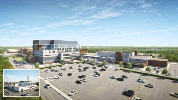 An image provided by the Nova Scotia health authority shows the proposed design for redevelopment at the Cape Breton Regional in Sydney. It shows a certain point in the development process, but is not a strict final design.