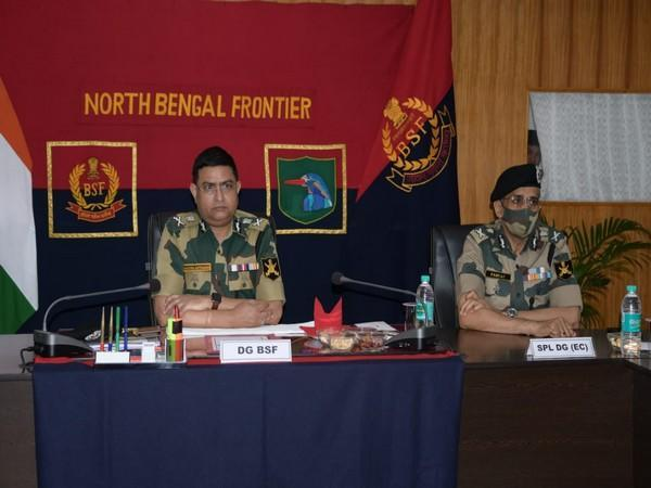BSF Director-General Rakesh Asthana attending the presentation in West Bengal