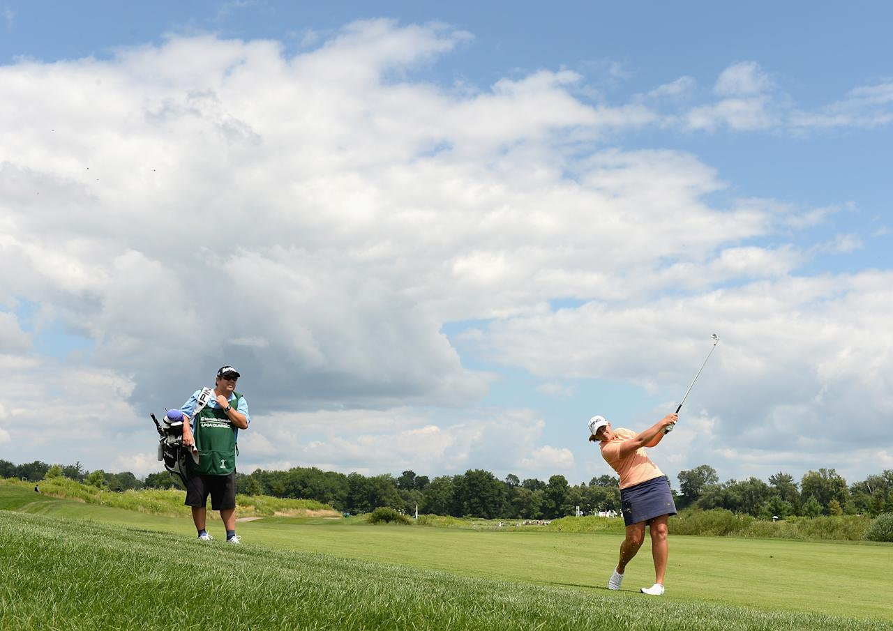 WATERLOO, CANADA - JULY 11: Angela Stanford hits a second shot on the 16th hole during round one of the Manulife Financial LPGA Classic at the Grey Silo Golf Course on July 11, 2013 in Waterloo, Canada. (Photo by Harry How/Getty Images)