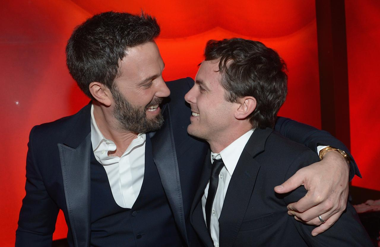 Ben Affleck and brother Casey Affleck attend the 2013 InStyle and Warner Bros. 70th Annual Golden Globe Awards Post-Party held at the Oasis Courtyard in The Beverly Hilton Hotel on January 13, 2013 in Beverly Hills, California.
