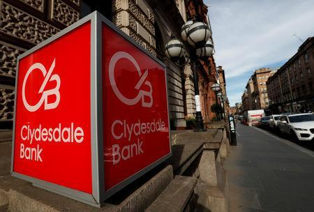 FILE PHOTO: The Clydesdale Bank logo is seen in St Vincent Place Glasgow, Scotland, Britain, June 25, 2018 REUTERS/Russell Cheyne