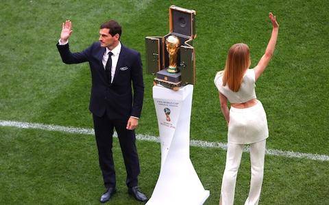 Iker Casillas brings the World Cup on to the pitch - Credit: Robbie Jay Barratt - AMA