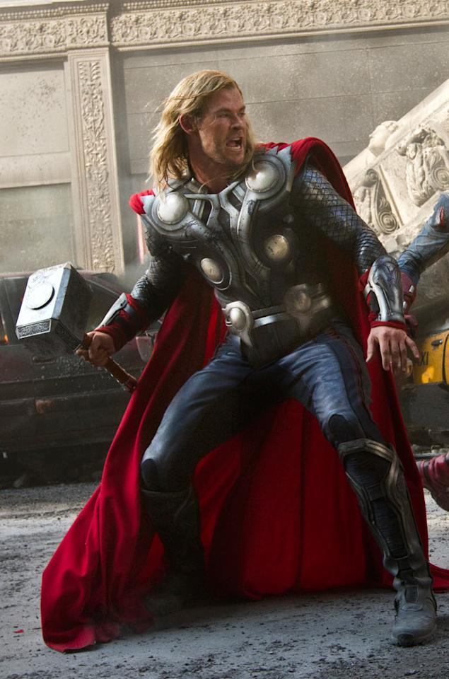 """THOR<br><a href=""""http://movies.yahoo.com/2012-summer-movies/marvel-avengers-235819875.html"""">""""Marvel's The Avengers""""</a><br>Grade: B-<br>If you look closely, you can see Chris Hemsworth's getup was slightly tweaked for his ensemble appearance as Thor in """"The Avengers."""" It's a smidge more streamlined than his costume in the prior two """"Thor"""" installments, yet stays true to his status as a hammer-throwing warrior god. While regal, the thick, red billowing cape looks a lot like movie house curtains."""