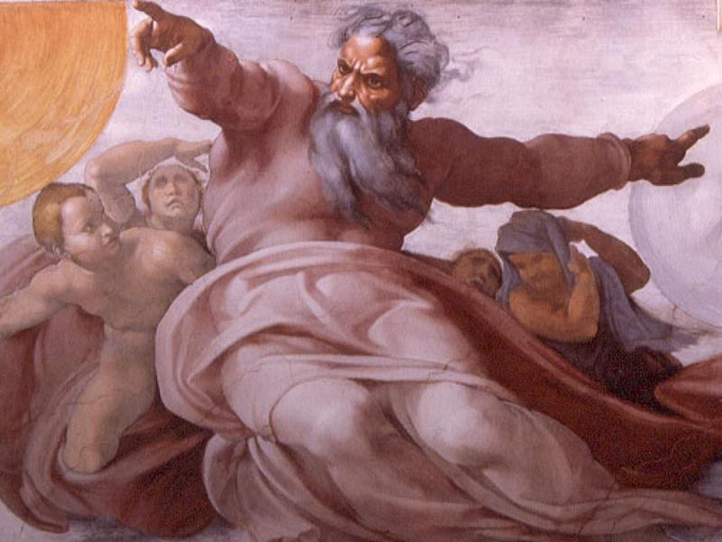 God as depicted in Michelangelo's fresco 'The Creation of the Heavenly Bodies' in the Sistine Chapel: Michelangelo