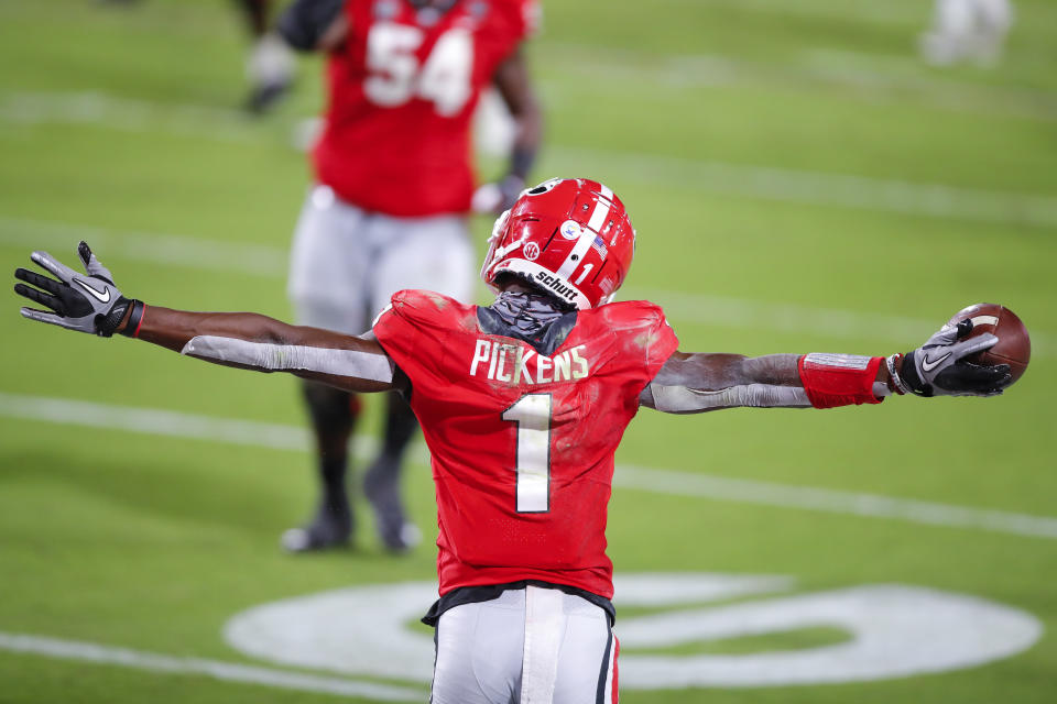 ATHENS, GA - OCTOBER 03: George Pickens #1 of the Georgia Bulldogs reacts after a touchdown during the second quarter of a game against the Auburn Tigers at Sanford Stadium on October 3, 2020 in Athens, Georgia. (Photo by Todd Kirkland/Getty Images)