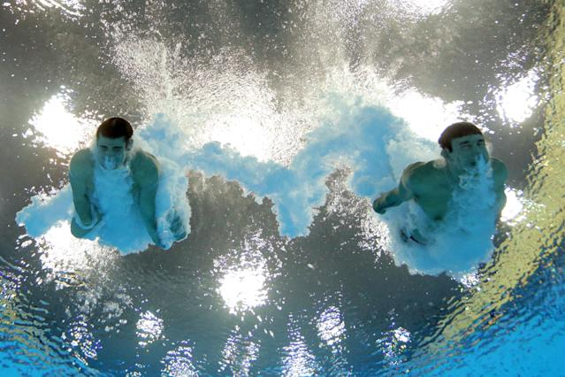 LONDON, ENGLAND - JULY 30: Nicholas McCrory and David Boudia (L) of the United States compete in the Men's Synchronised 10m Platform Diving on Day 3 of the London 2012 Olympic Games at the Aquatics Centre on July 30, 2012 in London, England. (Photo by Adam Pretty/Getty Images)