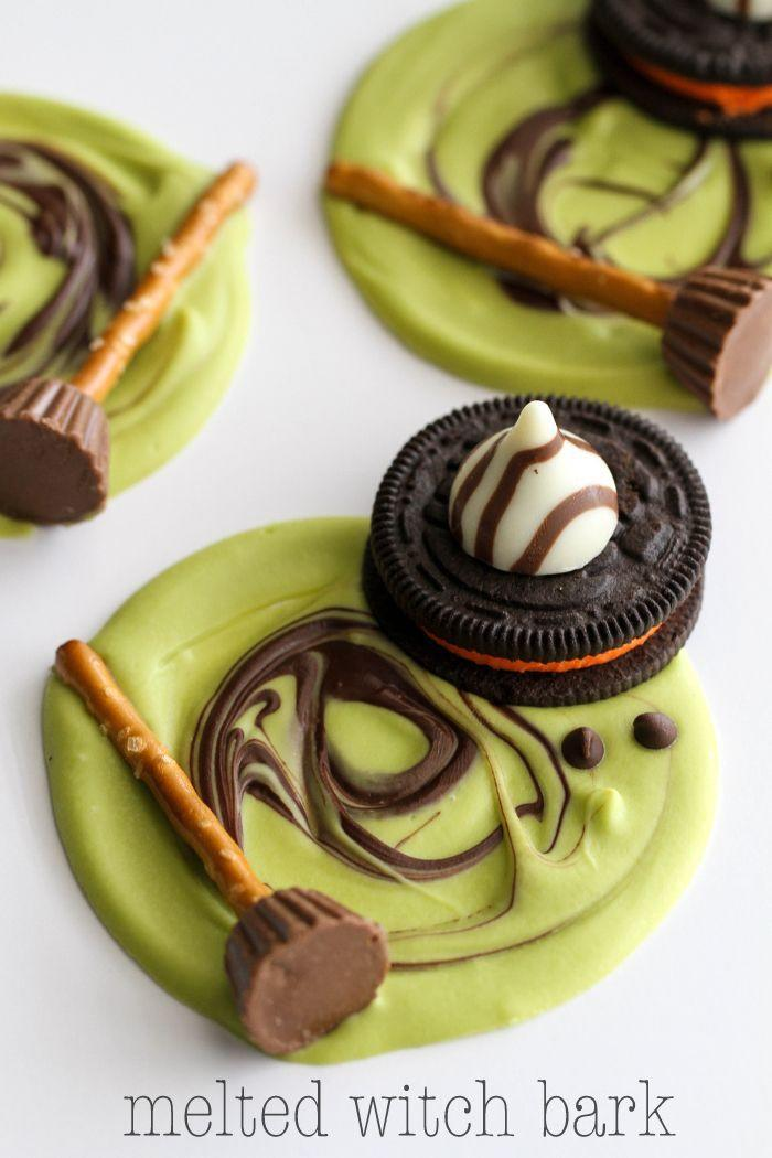 """<p>Spooky and sweet, this bark is kid-friendly and simple to brew.</p><p><strong>Get the recipe at <a href=""""http://lilluna.com/melted-witch-bark/?utm_source=feedburner&utm_medium=email&utm_campaign=Feed:+lilluna/isXQ+(Lil%27+Luna+-+All+Things+Good"""" rel=""""nofollow noopener"""" target=""""_blank"""" data-ylk=""""slk:Lil' Luna"""" class=""""link rapid-noclick-resp"""">Lil' Luna</a></strong>. </p>"""