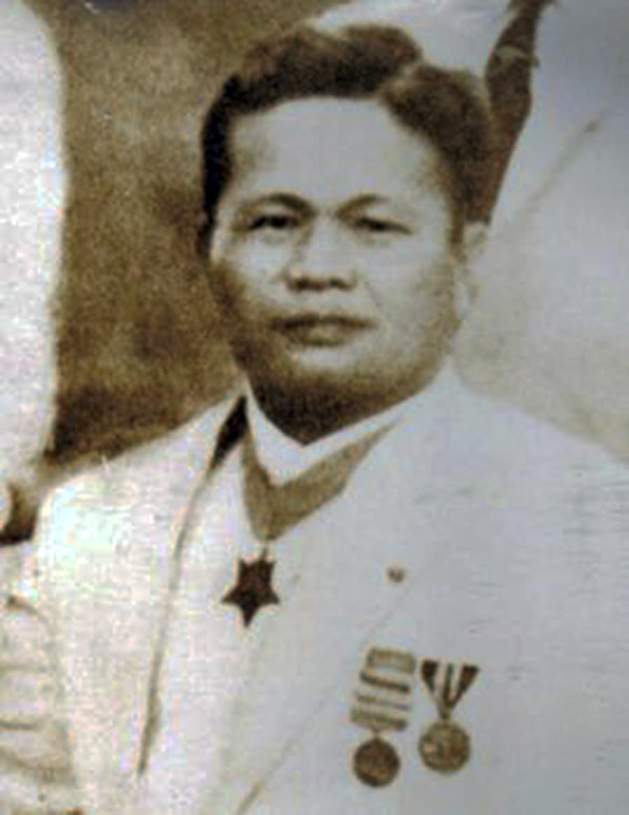 In this 1939 photo provided by the Trinidad family is Telesforo Trinidad in the Philippines. Asian Americans, veterans and civilians in the U.S. and the Philippines are campaigning to name a Navy warship for the Filipino sailor who bravely rescued two crew members when their ship caught fire more than century ago, earning him a prestigious and rare Medal of Honor. (Trinidad Family via AP)