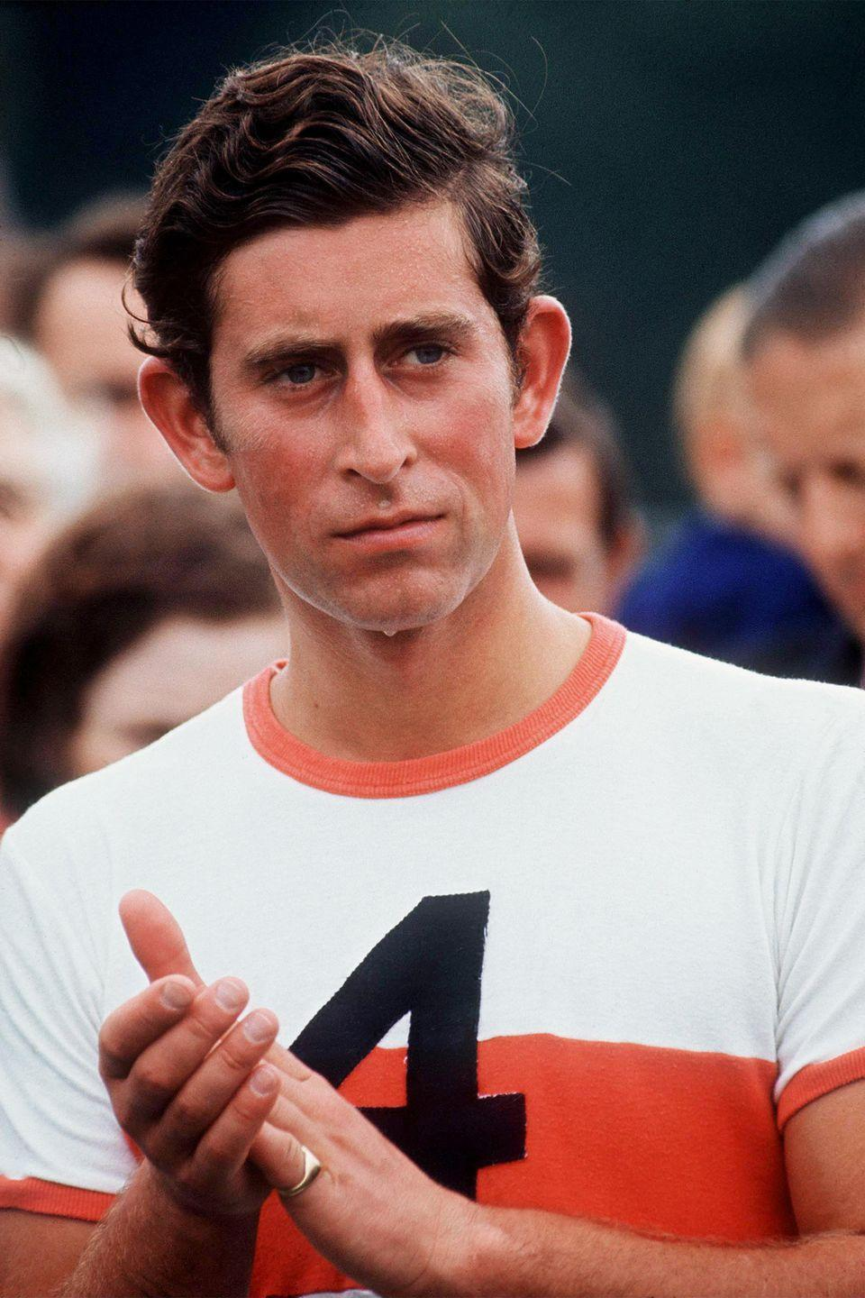 <p>Prince Charles is photographed after a game of polo.</p>