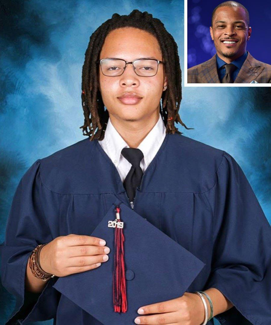 """T.I.'s graduation celebrations haven't stopped just yet because his son Domani also graduated high school in May. The rapper, who shares his son with momager Lashon Thompson, <a href=""""https://www.instagram.com/p/Bx3hNDThxT0/"""" rel=""""nofollow noopener"""" target=""""_blank"""" data-ylk=""""slk:wrote"""" class=""""link rapid-noclick-resp"""">wrote</a> a lengthy Instagram caption to express how impressed he was of his son for earning his dipolma, even though Domani was not a fan of his high school experience. """"I'm proud of you for finding a way to fight the constant urge to say """"F'this School S---"""" (like I did🤦🏽♂️) & found a way to dig deep & do for your Moms & Pops what I was never able to do for mine .... walk across that stage, receive your diploma & successfully complete this phase of your education,"""" T.I. wrote. """"Congratulations Son... With Love & Respect!!!! You did it!!! And you did the S--- YOUR WAY!!!"""" T.I. added."""