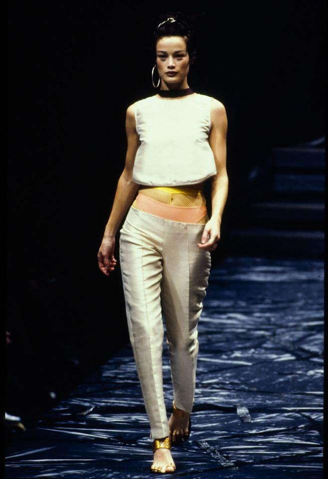 "<p>Several looks on the <a href=""https://www.crfashionbook.com/fashion/g27244238/jean-paul-gaultier-muses-throughout-history/"" target=""_blank"">Jean Paul Gaultier</a> Spring/Summer 1997 runway included exposed undergarments, thongs and briefs alike.</p>"