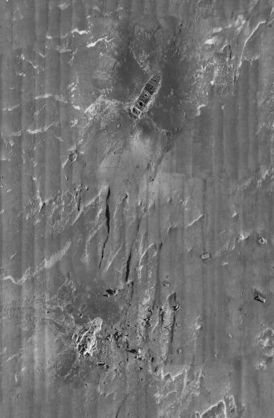 This composite image, released by RMS Titanic Inc., and made from sonar and more than 100,000 photos taken in 2010 from by unmanned, underwater robots, shows a portion of a comprehensive map of the 3-by-5-mile debris field surrounding the bow and stern of the Titanic on the bottom of the North Atlantic Ocean.  The luxury passenger liner sank about 375 miles south of Newfoundland, Canada, after striking an iceberg on its maiden voyage from England to New York on April 15, 1912, killing 1,517 people.  (AP Photo/RMS Titanic Inc.)