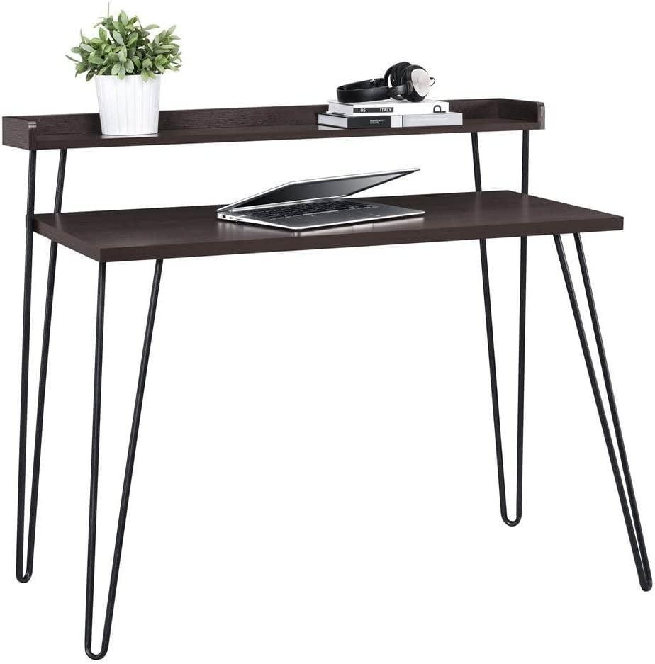 <p>This <span>Ameriwood Home Haven Retro Desk With Riser, Espresso</span> ($74) is a space-saving, sleek desk perfect for smaller areas. It can also work as a two-tiered entrance table.</p>