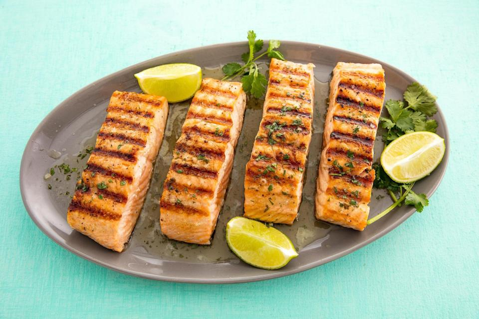 """<p>Looking to spruce up your grill skills? It's about time you <a href=""""https://www.delish.com/entertaining/g2489/grilled-seafood-recipes/"""" rel=""""nofollow noopener"""" target=""""_blank"""" data-ylk=""""slk:added seafood"""" class=""""link rapid-noclick-resp"""">added seafood</a> into your barbecue game. Imbuing salmon with charbroiled flavor will undoubtedly impress all of your bbq guests. </p><p>Looking for more ways to eat salmon? Try these <a href=""""https://www.delish.com/cooking/g2039/salmon-recipes/"""" rel=""""nofollow noopener"""" target=""""_blank"""" data-ylk=""""slk:healthy salmon recipes"""" class=""""link rapid-noclick-resp"""">healthy salmon recipes</a> that are still totally indulgent. </p>"""