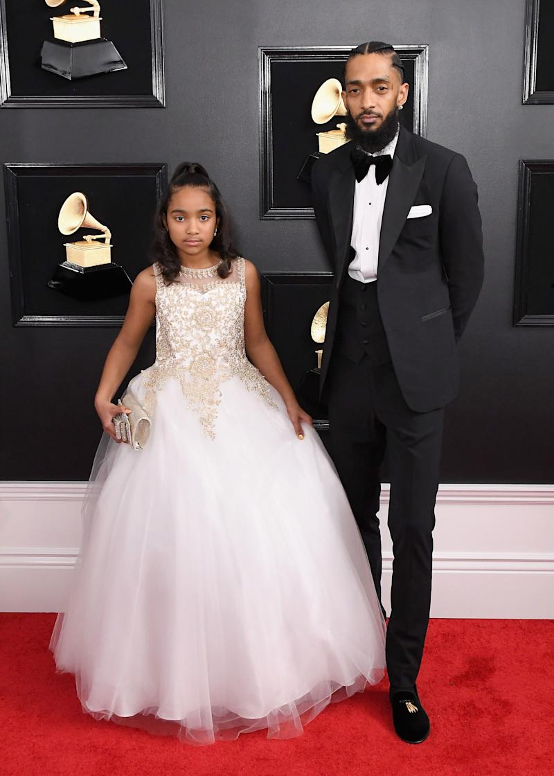 Nipsey and Emani at the Grammys for his Best Rap Album nomination, February 10, 2019.