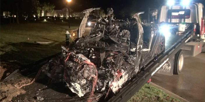 Tesla crash Spring Texas Harris County fire autopilot Elon Musk