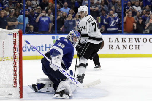 Los Angeles Kings left wing Nikolai Prokhorkin (74) beats Tampa Bay Lightning goaltender Andrei Vasilevskiy (88) during a shoot out in an NHL hockey game Tuesday, Jan. 14, 2020, in Tampa, Fla. (AP Photo/Chris O'Meara)