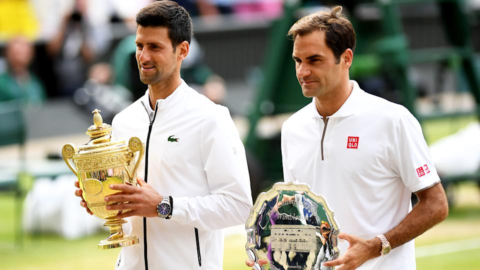 Novak Djokovic, pictured here after beating Roger Federer in the 2019 Wimbledon final.