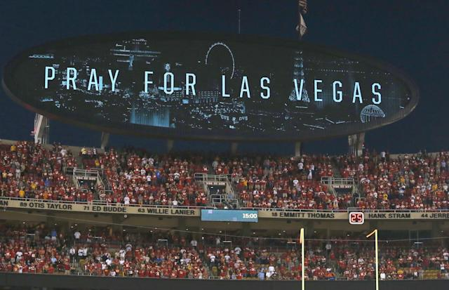 <p>A message on the video board reads 'Pray For Las Vegas' during a moment of silence before the Washington Redskins game against the Kansas City Chiefs at their Monday Night NFL football game at Arrowhead Stadium in Kansas City, Missouri, USA, 02 October 2017. (Photo: Larry W. Smith/EPA-EFE/REX/Shutterstock) </p>