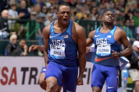 May 26, 2018; Eugene, OR, USA: Ronnie Baker (USA), left, defeats Christian Coleman (USA) to win the 100m during the 44th Prefontaine Classic in an IAAF Diamond League meet at Hayward Field. Mandatory Credit: Kirby Lee-USA TODAY Sports