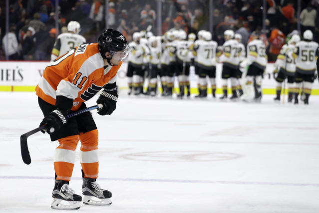 Philadelphia Flyers' Travis Konecny (11) skates back to the bench after losing an NHL hockey game against the Vegas Golden Knights, Monday, March 12, 2018, in Philadelphia. (AP Photo/Matt Slocum)
