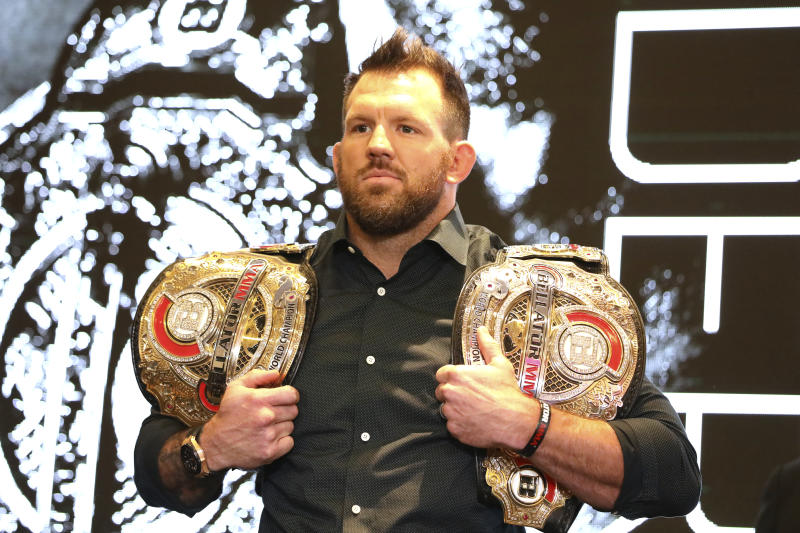 Ryan Bader is seen at a news conference promoting the Bellator Spring & Summer fight cards on Monday, March 9, 2020, in New York City. (AP Photo/Gregory Payan)