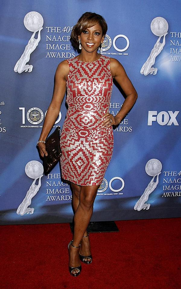 "Former ""Hangin' with Mr. Cooper"" cutie Holly Robinson Peete caused a commotion at the Image Awards in a coral-and-silver patterned piece from Naeem Khan's spring 2008 line. Jeffrey Mayer/<a href=""http://www.wireimage.com"" target=""new"">WireImage.com</a> - February 12, 2009"