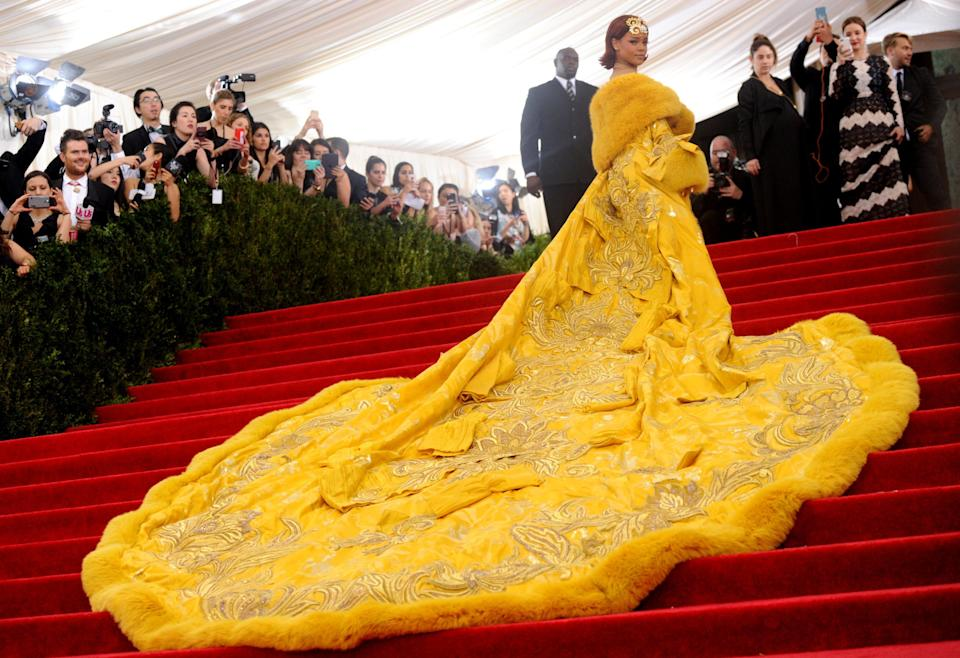 Rihanna's yellow Guo Pei gown at the 2015 Met Gala sparked a thousand memes and copycats at the time.