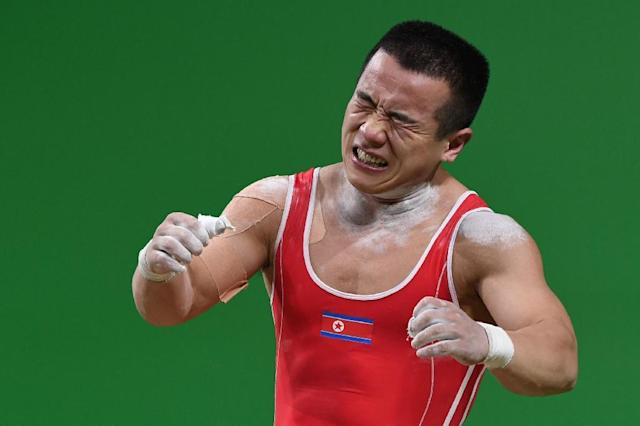 North Korea's silver medallist Om Yun-Chol, seen during the men's 56kg weightlifting event at the Rio 2016 Olympic games, on August 7 (AFP Photo/Goh Chai Hin)