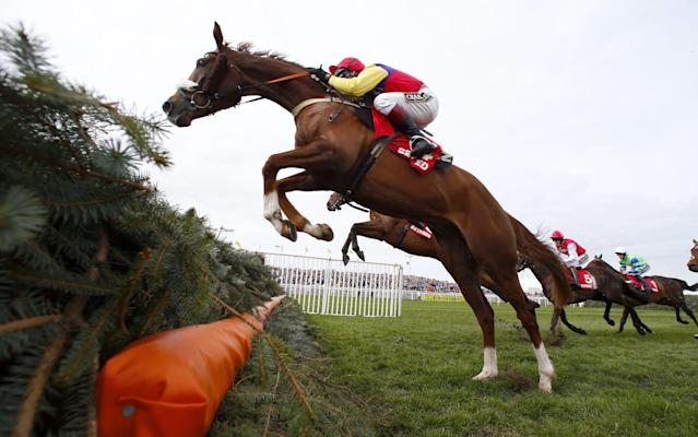 <span>Native River on course to victory at the Mildmay at Aintree last year</span> <span>Credit: REX FEATURES </span>