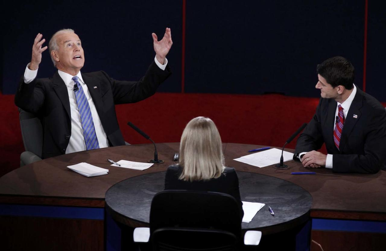 U.S. Vice President Joe Biden (L) makes a point in front of Republican vice presidential nominee Paul Ryan and moderator Martha Raddatz (C) during the vice presidential debate in Danville, Kentucky, October 11, 2012.  REUTERS/Jeff Haynes