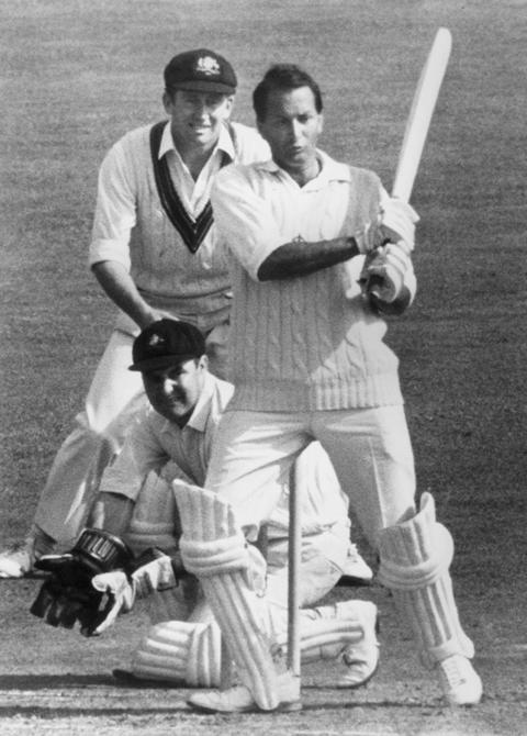 23rd August 1968:  CHECK HI-RES IF SUPPLYING DIGITALLY South African born England cricketer, Basil D'Olivera strikes Australian bowler John Gleeson to the boundary during his century making innings in the Final Test at the Oval.  (Photo by Central Press/Getty Images)