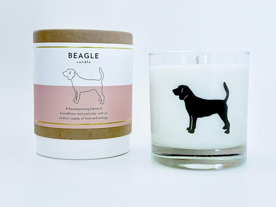 """<p><strong>Scripted Fragrance</strong></p><p>scriptedfragrance.com</p><p><strong>$34.00</strong></p><p><a href=""""https://scriptedfragrance.com/collections/pet-collection-signature-silhouette-glass-candle/products/beagle-dog-soy-candle-with-signature-silhouette-glass"""" rel=""""nofollow noopener"""" target=""""_blank"""" data-ylk=""""slk:SHOP IT"""" class=""""link rapid-noclick-resp"""">SHOP IT</a></p><p>Scripted Fragrance makes a candle for just about every major breed of dog, including """"service dog"""" (it's <a href=""""https://scriptedfragrance.com/collections/pet-collection-signature-silhouette-glass-candle/products/service-dog-soy-candle-with-signature-silhouette-glass"""" rel=""""nofollow noopener"""" target=""""_blank"""" data-ylk=""""slk:so cute,"""" class=""""link rapid-noclick-resp"""">so cute,</a> I nearly cried). And while some candles can be <a href=""""https://agelesspaws.com/paraffin-candles-can-be-toxic-to-pets/"""" rel=""""nofollow noopener"""" target=""""_blank"""" data-ylk=""""slk:dangerous for your dog"""" class=""""link rapid-noclick-resp"""">dangerous for your dog</a>, these ones are made of dog-safe soy wax. Plus, they're vegan, cruelty-free, dye-free, additive-free, preservative-free, petroleum-free, and phthalate-free.</p>"""