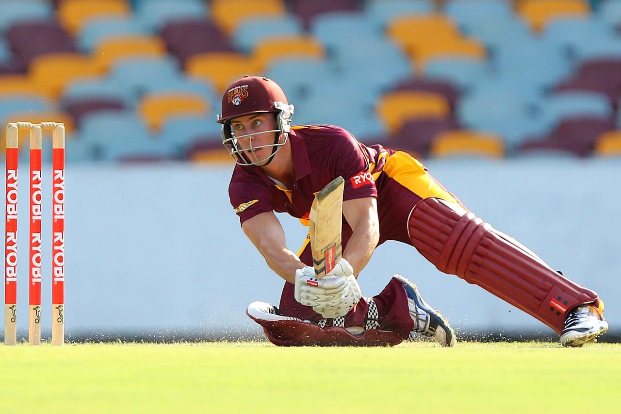 BRISBANE, AUSTRALIA - NOVEMBER 21:  Chris Lynn of the Bulls bats during the Ryobi One Day Cup match between the Queensland Bulls and the New South Wales Blues at The Gabba on November 21, 2012 in Brisbane, Australia.  (Photo by Chris Hyde/Getty Images)