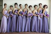 """<p>If you don't know what the bridesmaids dresses look like, this faux pas may be unavoidable. If you do know, steer clear of their color palette. """"If a guest knows what the wedding party is wearing, it's appropriate to avoid looking as if she (or he) is part of the group,"""" says Chertoff. Sidestep the exact same color or silhouettes to be respectful and help keep the bridal party distinguished.</p><p><strong>RELATED:</strong> <a href=""""https://www.goodhousekeeping.com/beauty/fashion/g27870890/fall-wedding-guest-dresses/"""" rel=""""nofollow noopener"""" target=""""_blank"""" data-ylk=""""slk:15 Wedding Guest Dresses (With and Without Sleeves) That Are Perfect for Fall"""" class=""""link rapid-noclick-resp"""">15 Wedding Guest Dresses (With and Without Sleeves) That Are Perfect for Fall</a><br></p>"""
