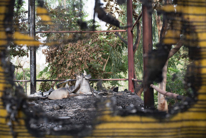 <p>A picture taken on June 19, 2017 in Kangaba tourist resort near Bamako shows remains after suspected jihadists stormed the resort on June 18, briefly seizing more than 30 hostages and leaving at least two people dead. (Michele Cattani/AFP/Getty Images) </p>