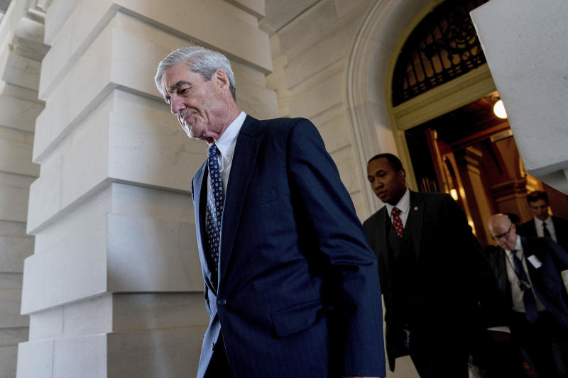 <p> FILE - In this June 21, 2017, file photo, former FBI Director Robert Mueller, the special counsel probing Russian interference in the 2016 election, departs Capitol Hill following a closed door meeting in Washington. President Donald Trump is questioning the impartiality of Mueller's investigation and says the probe is groundless, while raising doubts about whether a fired top FBI official kept personal memos outlining his interactions with Trump. (AP Photo/Andrew Harnik, File) </p>