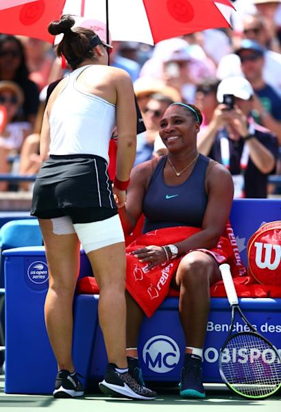 Bianca Andreescu consoled Serena Williams after injury prompted the American to quit during the Toronto final