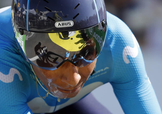 Colombia's Nairo Quintana crosses the finish line during the thirteenth stage of the Tour de France cycling race, an individual time trial over 27.2 kilometers (16.9 miles) with start and finish in Pau, France, Friday, July 19, 2019. (AP Photo/Christophe Ena)