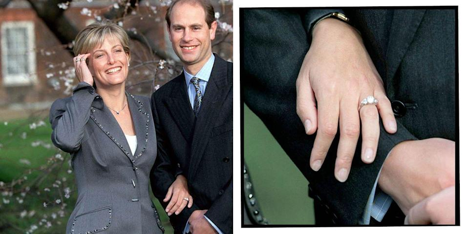 """<p>Similarly to the Duchess of Sussex's engagement ring, Sophie (nee Rhys-Jones) also has a three-stone ring. However the left and right stones are pear-shaped. </p><p>'It's sparkly and diamonds are a girl's best friend so I'm told,' Prince Edward<a href=""""https://www.gettyimages.co.uk/detail/video/exterior-shots-pricne-edward-sophie-rhys-jones-talking-to-news-footage/110054815"""" rel=""""nofollow noopener"""" target=""""_blank"""" data-ylk=""""slk:told reporters when they announced their engagement."""" class=""""link rapid-noclick-resp""""> told reporters when they announced their engagement.</a></p><p>'No, you're my best friend,' Rhys-Jones replied. Adorable.</p><p><a class=""""link rapid-noclick-resp"""" href=""""https://www.tiffany.co.uk/engagement/engagement-rings/tiffany-three-stone-engagement-ring-with-pear-shaped-side-stones-in-platinum-GRP10897/"""" rel=""""nofollow noopener"""" target=""""_blank"""" data-ylk=""""slk:SHOP SIMILAR"""">SHOP SIMILAR</a> Three Stone Engagement Ring With Pear-Shaped Side Stones In Platinum, Tiffany&Co, £8,275<br></p>"""