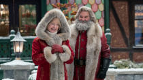 Kurt Russell returns as his Sexy Santa for Netflix, with the addition of Goldie Hawn as an utterly charming Mrs Claus. <em>Hunt for the Wilderpeople</em> star Julian Dennison is a disgruntled former elf looking to end Christmas forever. (Credit: Joseph Lederer/Netflix)