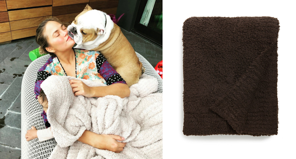 Chrissy Teigen's favourite Barefoot Dreams blanket is on sale now at Nordstrom. Images via Instagram/ChrissyTeigen, Nordstrom.