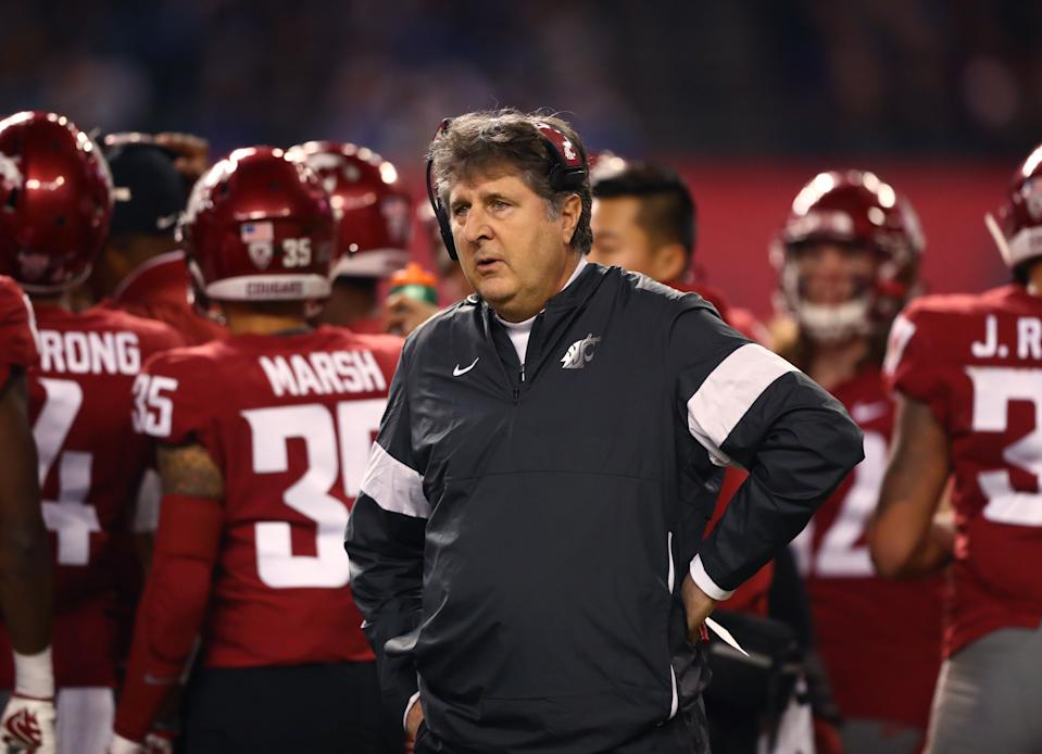 Dec 27, 2019; Phoenix, Arizona, USA; Washington State Cougars head coach Mike Leach reacts against the Air Force Falcons during the first half of the Cheez-It Bowl at Chase Field. Mandatory Credit: Mark J. Rebilas-USA TODAY Sports