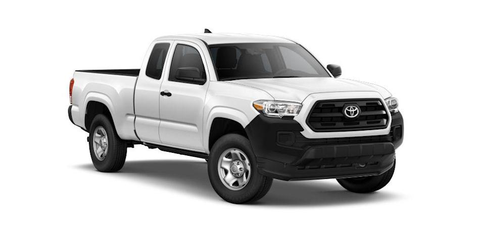 "<p><strong>Configuration: </strong>SR trim level, extended cab, 4x2, with Utility Package</p><p><a href=""https://www.caranddriver.com/toyota/tacoma"" rel=""nofollow noopener"" target=""_blank"" data-ylk=""slk:Toyota's Tacoma"" class=""link rapid-noclick-resp"">Toyota's Tacoma</a> has perhaps the best reputation in the small-pickup segment, having built its name on reliability, affordability, and no-nonsense capability. For 2021, the affordability angle is perhaps its most compelling, as it's now the least expensive pickup truck you can buy, bar none. That's thanks in part to the available Utility package that slashes $1715 from the base price in exhange for removing the rear seats, sliding rear window, and the paint from the bumpers and other exterior trim pieces. Honestly, we don't mind the spartan look of the base Tacoma.<br></p>"